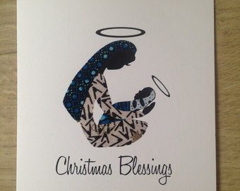 "Christmas Card/Mother & Child2/African Wax Print Cards/Ethnic card (6"" square)"