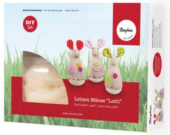"DIY craft set linen mice ""Lotti"" to the Kosmetikpads - Rayher 53880000"
