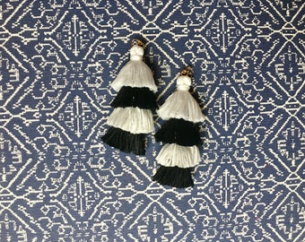 Four Tier Black and White Tassel Earrings, Fringe Earrings, Stacked tassel earrings, Fringe Drops