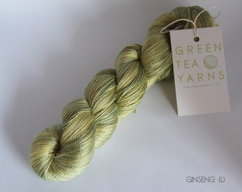 Green of Purest Gold on Ginseng pure mulberry silk lace yarn, dto, dye to order, 2-3 ply weight, 600m/100gms