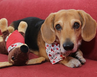 """Red duplex bandana with hearts and dots - 30% of sales donated to dog shelters """"dog bow tie"""" symbol for animal support"""
