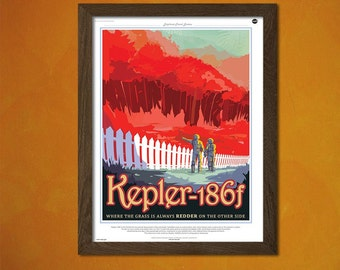 FINE ART REPRODUCTION Sci-fi Poster Space Futur Nasa Kepler-186f Planet  Vintage Sci-fi  Print Retro    Art Print