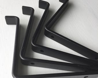 Black Shelf Brackets Iron, Powder Coated Open Shelving Supports for Modern Industrial Decor