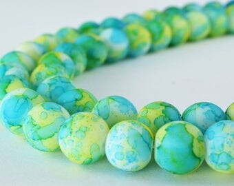 Glass Beads Matte Green Rubber Over Glass Size 10mm Round For Jewelry Making Item#789222045982