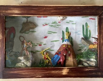 Diorama, cowboys and indians, shadow box, cowboy art, ranch decor, man cave, native american,wild west, OOAK, ranch art, westerns, boys room