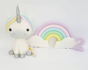 Unicorn and rainbow fondant cake topper plus 12 x matching cupcake toppers
