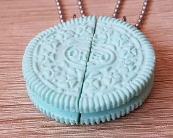 Best Friends BFF Oreo Cookie Keychains Mint Blue and White with Ballchain / Polymer Clay Accessoires