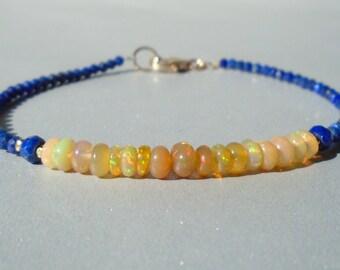 Lapis Lazuli Bracelet with Ethiopian Opal, Ethiopian Opal Bracelet, Yellow Opal, Gemstone Beaded Dainty Bracelet, Lapis Lazuli Bracelet