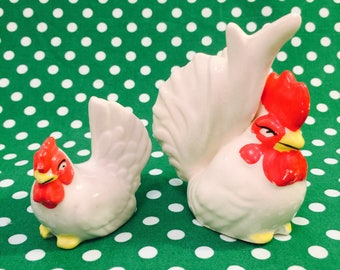 White Rooster and Hen Salt and Pepper Shakers made in Japan circa 1950s
