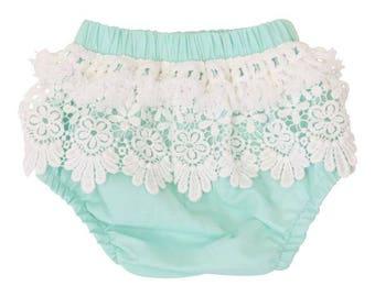 Mint Boho Fringe Baby Bloomers | Mint, Ivory,  Lace, Fringe, Vintage, Boho, Baby Girl Diaper Cover