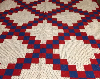 Vintage red white and blue Patriotic quilt top newly quilted
