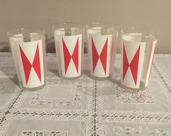 Unique set of 4 diamond red and white glasses