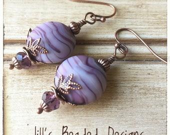 Purple Earrings, Tye Dye Earrings, Copper Earrings, Dangle Earrings Gift for Her