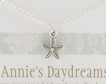 Childs Silver Forget-me- not  Necklace -  Forget-me-not Childs Necklace - Silver Childs Necklace - Forget-me-not Gift