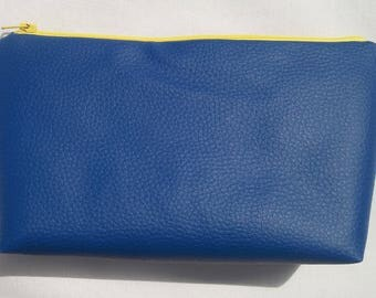 Electric Blue Faux Leather Make up Bag