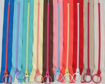 """Colorful Resin Zipper 20cm/ 7.875"""" Metal Ring Puller Close-End Type 10 Colors Pouch Bag Sewing Parts Craft DIY"""