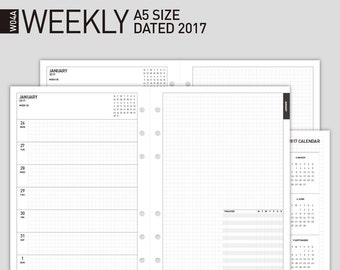 50% off Printable 2017 Weekly Planner Insert | Filofax A5 size Wo2p Dated 2017, 12mth | 2017 Weekly  Scheduler/2017 Weekly Calendar