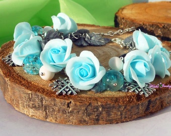 Christmas Bracelet Blue Roses Winter jewelry Holiday Charm Bracelet Snowflake jewelry Christmas Roses bracelet Blue jewelry Blue Rose  Gift