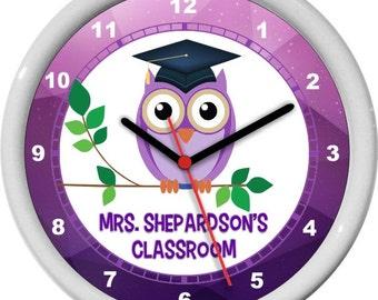 "Classroom Teacher Clock 10"" Personalized Purple Wall Clock Classroom Decor Owl Mortar Board Teacher Appreciation Gift"
