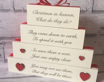 Christmas in Heaven Memory Stack Lost Loved Ones in Heaven Blocks Stack Plaque Gift