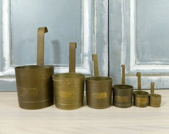 French Vintage Brass Measuring Cups, French Kitchen Decor