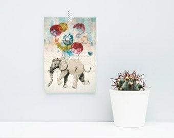 The Flying Elephant / A5 Artprint, Poster, Print, Balloons, Colorful