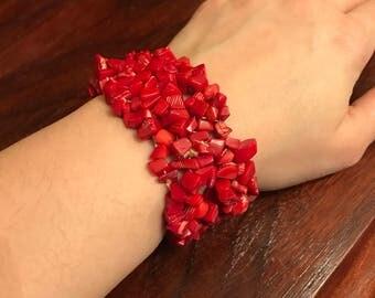 Vintage bamboo coral stretchy bracelet