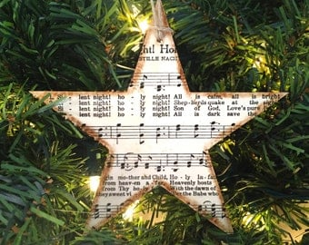 Star Ornament, Rustic Christmas Music Ornament, Christmas Hymn Ornament, Sheet Music Ornament, Rustic Ornament, Silent Night, O Holy Night