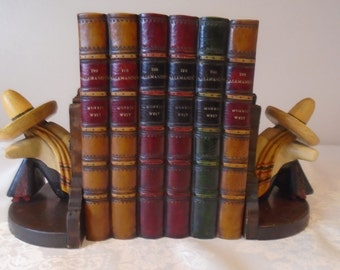 vintage Mexican wooden bookends