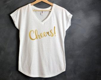 Cheers V-Neck Shirt, Bachelorette Party Shirts, Bridal Party Shirt, Bride Tank Top, Pop Fizz Clink, New Year's Eve Shirt, Bridesmaid Shirt