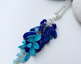 Aquamarine & Blue Petals Pendant, Floral Pendant, Polymer Clay Necklace, Pendant with Flowers, Gift Idea, Pendant for Women