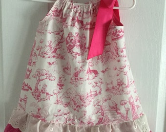 Pillowcase Dress, Dark Pink, Hot Pink, Toile, Eyelet Trim, Children's Print, Single or Double Ruffle