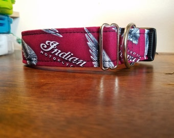 Large 1.5 width Indian Motorcycle Dog Collar