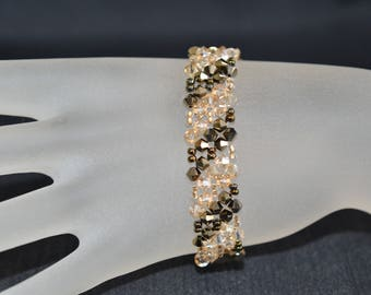 Crystal bracelet Swarovski crystal metallic gold 2x and crystal golden shadow