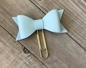 Light Blue Bow Planner Clip Faux Leather