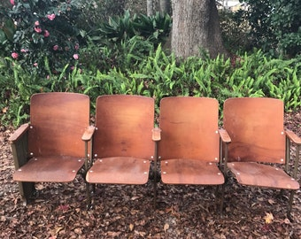 Vintage Theater Chairs, Church Pew, Home Theater, Porch Bench, Home School Bench