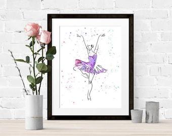 Ballerina, home decor, printable art, watercolour, digital prints, instant download, dancer, wall decor