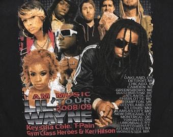 Medium. Lil Wayne 2008-09 Tour shirt. Lil weezy rap artist tee. Band shirt.keyshia Cole. T-Pain. Gym class heroes. Keri Hilson. Weezy