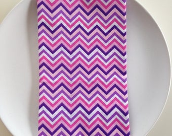 Cloth Napkins: Pink, Purple, and White Chevron-Set of Six