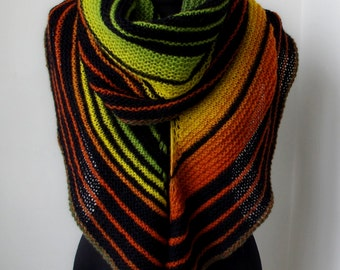 """Scarf Shawl """"Abstraction"""", stylish scarf.shal knitted scarf made of wool Hand knit black scarf,wing shape ,shawl Wingspan"""