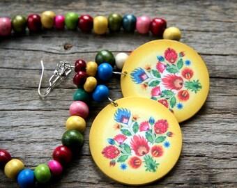 Polish folk earrings, Polish folk art, Polish earrings, Bright Yellow Earrings, Big yellow earrings, floral earrings, polish floral art
