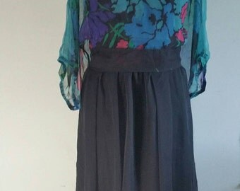 "1980S Dress. Vintage Dress. Black Chiffon Layered Dress, Size 10-12, Sheer Layered Dress, Opaque Dress, Black Dress, Tiered Dress, Bust40"""