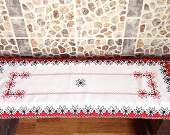 Handmade embroidery Gift for parents Rustic table decor Folk embroidery Hand embroidery White and Red Home decor