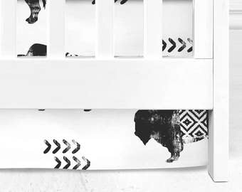 Buffalo tribal crib skirt, black and white baby bedding, tribal nursery, animal nursery, buffalo baby bedding, lumberjack baby bedding,