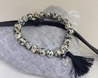 Dalmatian jasper Bracelet, Leaf charm, Angel Wing, stacking bracelet, boho bracelet, Tassel, Yoga bracelet, Dalmatian jasper beads