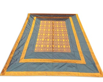 Indian Silk Brocade Design Grey Color Double Bed Cover 260x240 CM