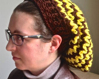 Adult Brown and Yellow Slouchy Hat
