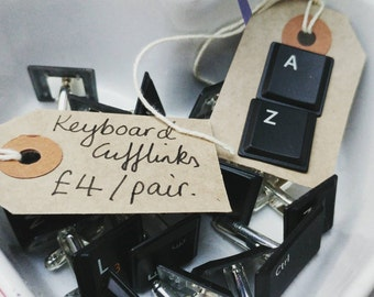Personalised keyboard cufflinks. Geek chic, computer nerd, initials, wedding favours, favors , gift for him, unique, upcycled, laptop keys,