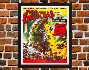 Framed Godzilla Classic Monster Movie / Film Poster A3 Size Mounted In Black Or White Frame (Ref-3)