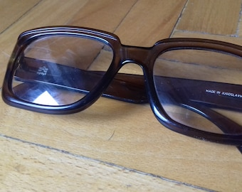 Vintage Optyl glasses frames,Classic Square design and beautiful transparent brown color. Made in Yugoslavia 80's